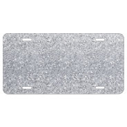 Glittery Silver Ombre License Plate at Zazzle