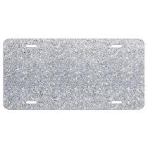 Glittery Silver Ombre License Plate