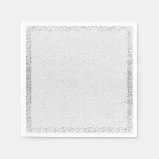 Glittery Silver Ombre Paper Napkin
