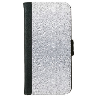 Glittery Silver Ombre Wallet Phone Case For iPhone 6/6s