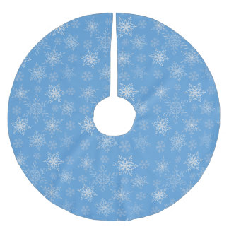 Glittery Snowflakes with Blue Background Brushed Polyester Tree Skirt