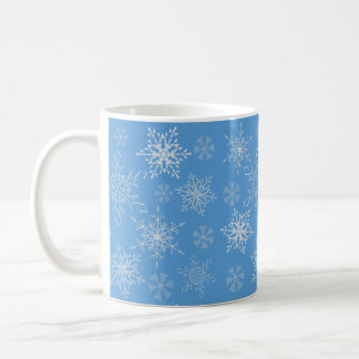 Glittery Snowflakes with Blue Background Coffee Mug