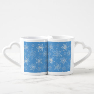 Glittery Snowflakes with Blue Background Coffee Mug Set