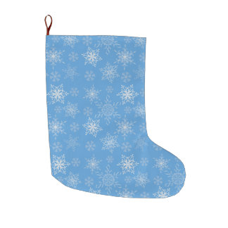 Glittery Snowflakes with Blue Background Large Christmas Stocking