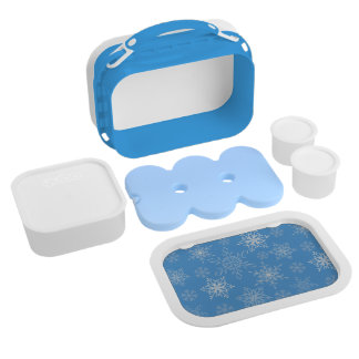 Glittery Snowflakes with Blue Background Lunch Box