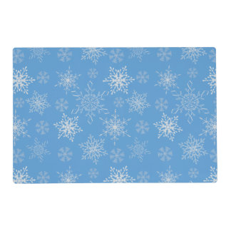 Glittery Snowflakes with Blue Background Placemat