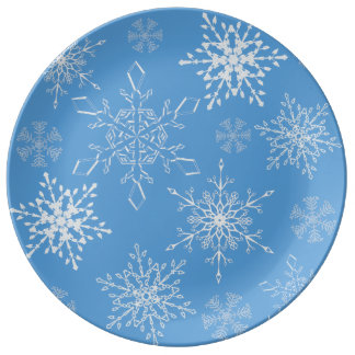Glittery Snowflakes with Blue Background Plate