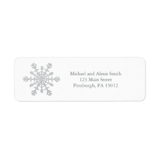 Glittery Sparkle Silver Snowflake for Christmas Label at Zazzle