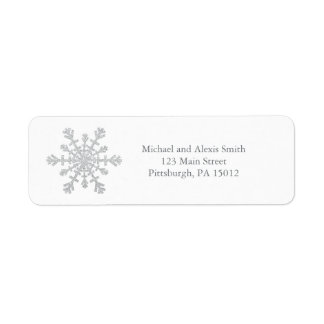 Glittery Sparkle Silver Snowflake for Christmas Return Address Label