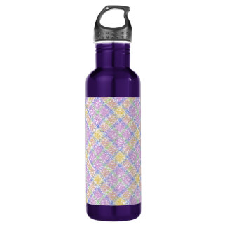 Glittery Spring Tartan Plaid Water Bottle