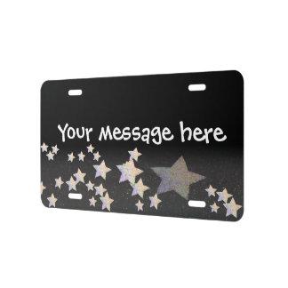 glittery star license plate