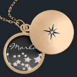 """glittery star  necklace<br><div class=""""desc"""">glittery star adds a a bit of bling. Personalize this item with your favorite background color and name.  Customize by adding your own photos,  backgrounds,  text ,  font style,  font size &amp; color.</div>"""