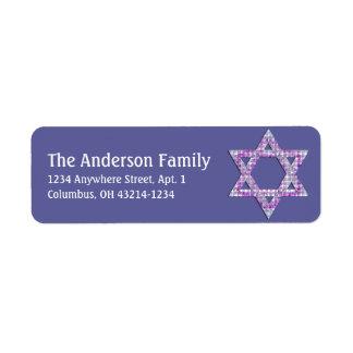 Glittery Star of David Hanukkah Address Labels d1