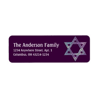 Glittery Star of David Hanukkah Address Labels d17