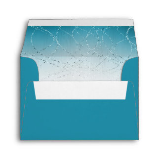Glittery Star of David Turquoise Bat Mitzvah RSVP Envelope