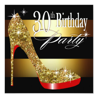 Glittery Stiletto Stripes 30th Birthday Party Card