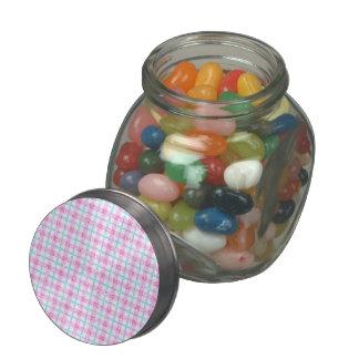 Glittery Tartan Plaid in Pink & Blue Glass Jar