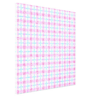 Glittery Tartan Plaid in Pink & Blue Canvas Print