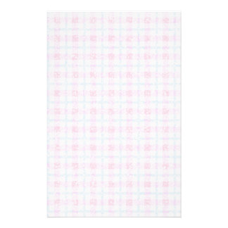 Glittery Tartan Plaid in Pink & Blue Stationery