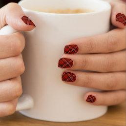 Glittery Tartan Plaid in Red & Black Minx Nail Wraps