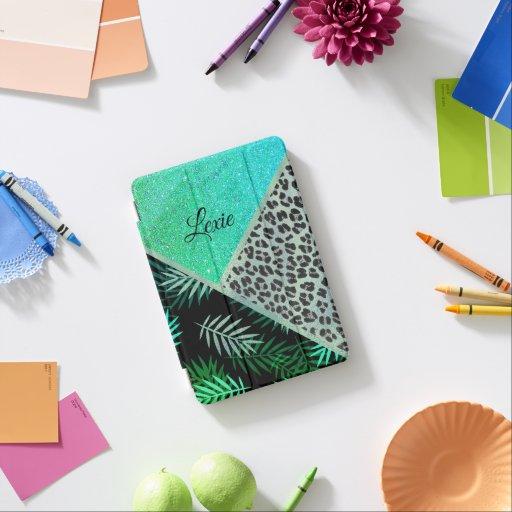 Glittery Teal Tropical Leopard Print     iPad Mini Cover