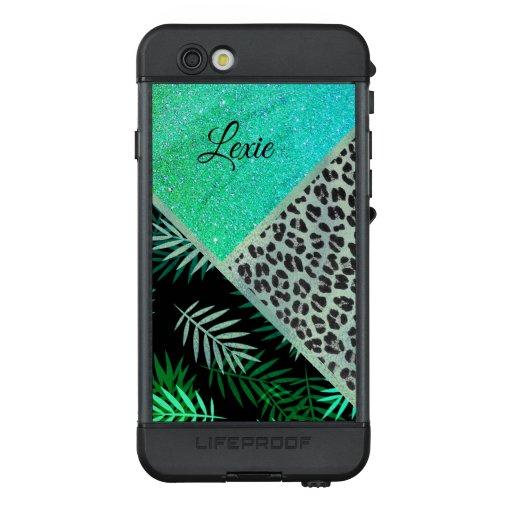 Glittery Teal Tropical Leopard Print    LifeProof NÜÜD iPhone 6s Case