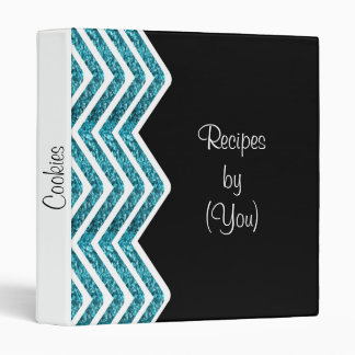 Glittery Turquoise Chevron Bling Recipe Cookbook 3 Ring Binder