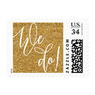 Glittery We Do Wedding Stamp in Faux Gold Glitter