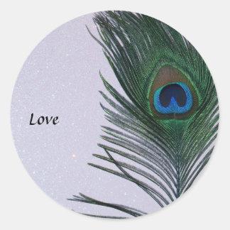 Glittery White Peacock Feather Still Life Classic Round Sticker