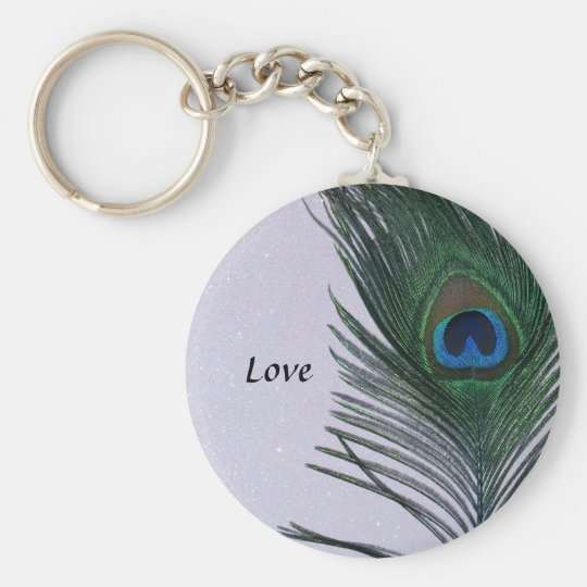 Glittery White Peacock Feather Still Life Keychain