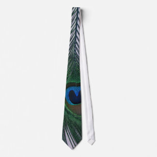 Glittery White Peacock Feather Still Life Tie