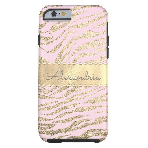Glittery Zebra Print on Pink Blush         Tough iPhone 6 Case