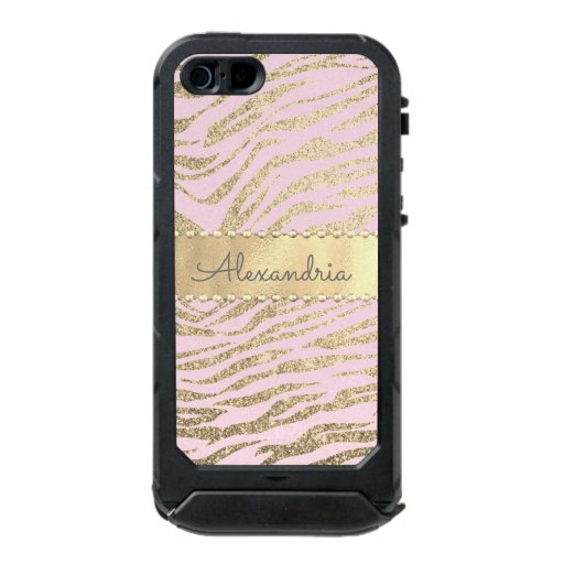 Glittery Zebra Print on Pink Blush          Waterproof Case For iPhone SE/5/5s