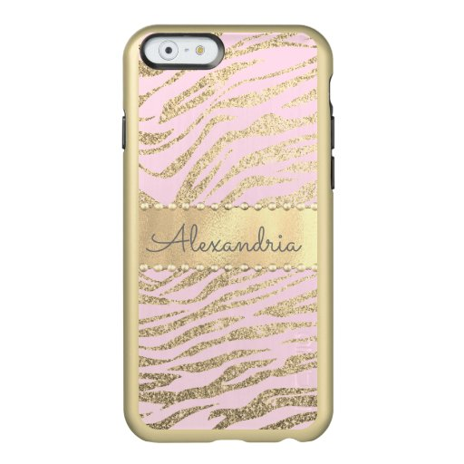 Glittery Zebra Print on Pink Blush        Incipio Feather Shine iPhone 6 Case