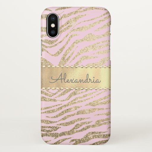 Glittery Zebra Print on Pink Blush         iPhone X Case