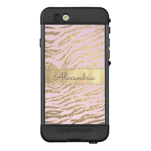 Glittery Zebra Print on Pink Blush     LifeProof NÜÜD iPhone 6s Case