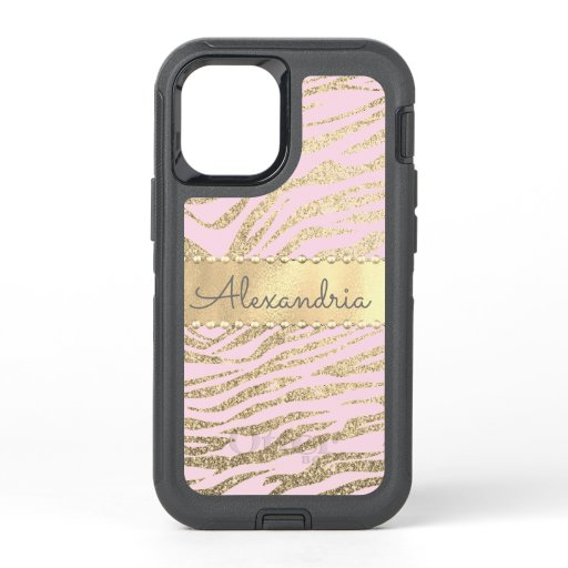 Glittery Zebra Print on Pink Blush    OtterBox Defender iPhone 12 Mini Case