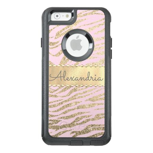 Glittery Zebra Print on Pink Blush      OtterBox iPhone 6/6s Case