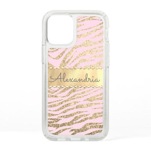 Glittery Zebra Print on Pink Blush   Speck iPhone 12 Mini Case