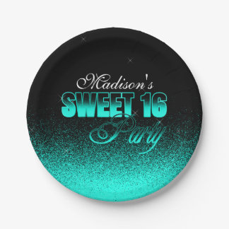 Glitz and Glamorous Black and Aqua Sweet 16 Paper Plate