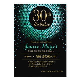 Glitz Bling Confetti 30th Birthday aqua gold black Card