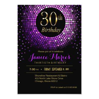 Glitz Bling Confetti 30th Birthday | purple gold Card