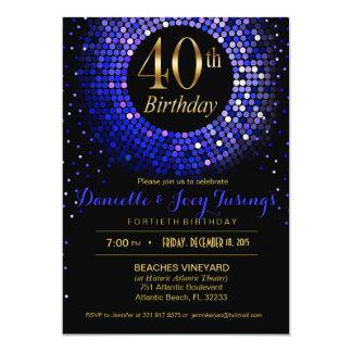 Glitz Bling Confetti 40th Birthday | cobalt blue Card