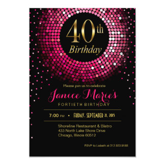 Glitz Bling Confetti 40th Birthday | fuchsia gold Card