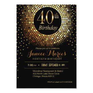 Glitz Bling Confetti 40th Birthday   gold black 5x7 Paper Invitation Card