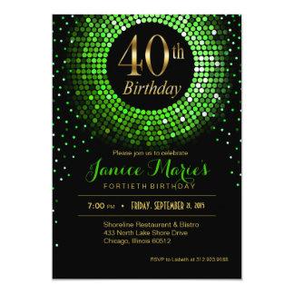 Glitz Bling Confetti 40th Birthday | green gold Card