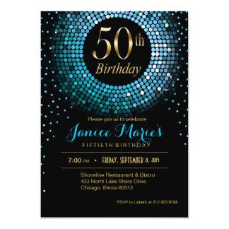 Glitz Bling Confetti 50th Birthday blue gold black Card