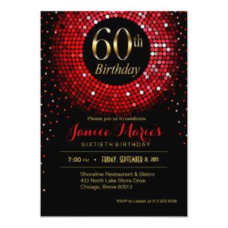 Glitz Bling Confetti 60th Birthday red gold black Card