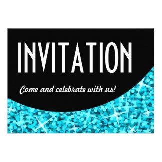Glitz Blue curve Invitation invitation