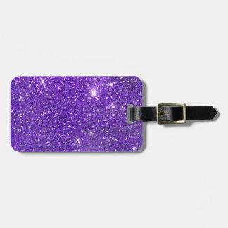 Glitz chispeante del brillo de la púrpura de moda etiquetas para maletas